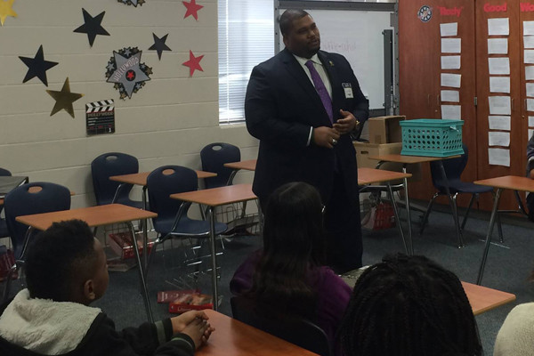 Speaking at Missouri City Middle School Career Day